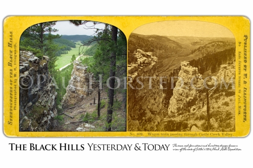 """""""Wagon Train Passing Through Castle Creek Valley"""" 8-23-05 • N 44 04 25.1 W 103 54 24.8 • Northwest (Facing page) A stereoview by W.H. Illingworth (inset) shows more than 100 wagons of the Black Hills Expedition in Castle Creek Valley on July 26, 1874. In the modern color image made at this location, the same limestone formations and, remarkably, several burned stumps seen in the 1874 image are still present today. (Paul Horsted Collection/Illingworth) Field Note: The connection to the past is almost tangible when you gaze upon those rock formations and surviving tree stumps. If you go, please add nothing to or take anything from this scene. .."""