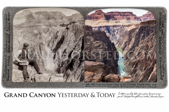Grand Canyon National Park Yesterday & Today. Granite Gorge and the Colorado River. Circa 1903.