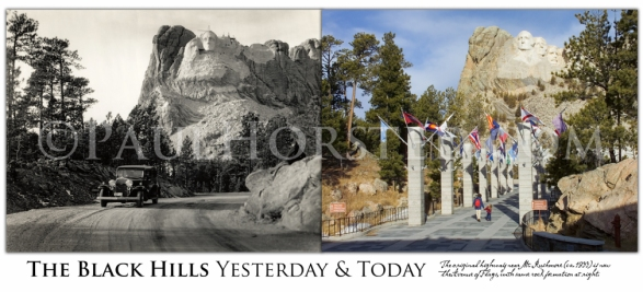 1933 Road Near Mt. Rushmore.. Charles D'emery was a Connecticut-based photographer hired by Gutzon Borglum (and later the Park Service) to document the work on Mt. Rushmore. He took many outstanding images of the monument as well as the beauty of the surrounding Black Hills (found elsewhere in these pages). Here we see a car that appears in some of D'emery's other images, as well as a figure sitting on rocks at right, in front of the partially-carved mountain... The earlier image can be dated by the emerging image of Jefferson to the left of Washington. Inadequate rock in that area caused Borglum to remove the carving by 1934 and start over on the other side. Today the former highway is the Avenue of Flags leading to the main viewing terrace at Mt. Rushmore. Note the same rock formation at right, with several feet of earth removed from around its base...